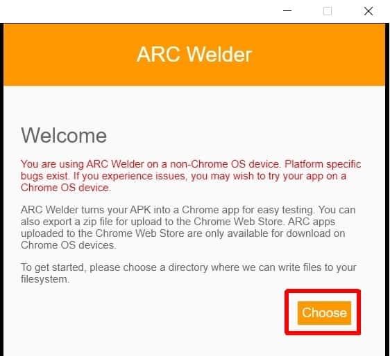 ARC Welder choose app